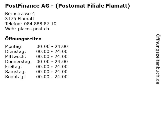PostFinance AG - (Postomat Filiale Flamatt) in Flamatt: Adresse und Öffnungszeiten