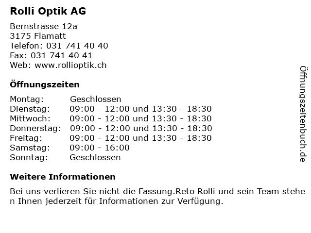 Rolli Optik AG in Flamatt: Adresse und Öffnungszeiten