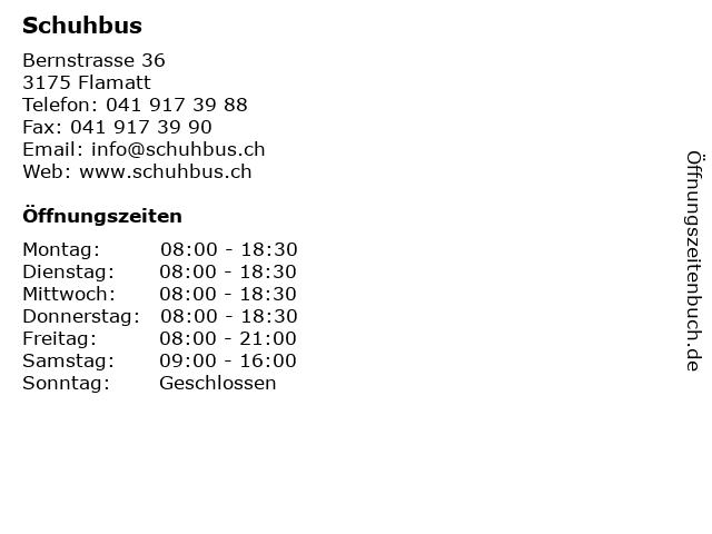 Schuhbus in Flamatt: Adresse und Öffnungszeiten