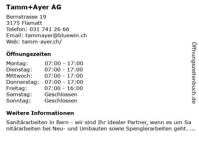 Tamm+Ayer AG in Flamatt: Adresse und Öffnungszeiten