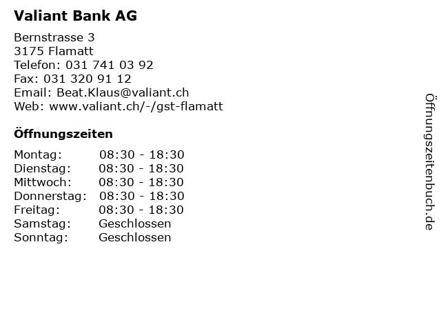 Valiant Bank AG in Flamatt: Adresse und Öffnungszeiten