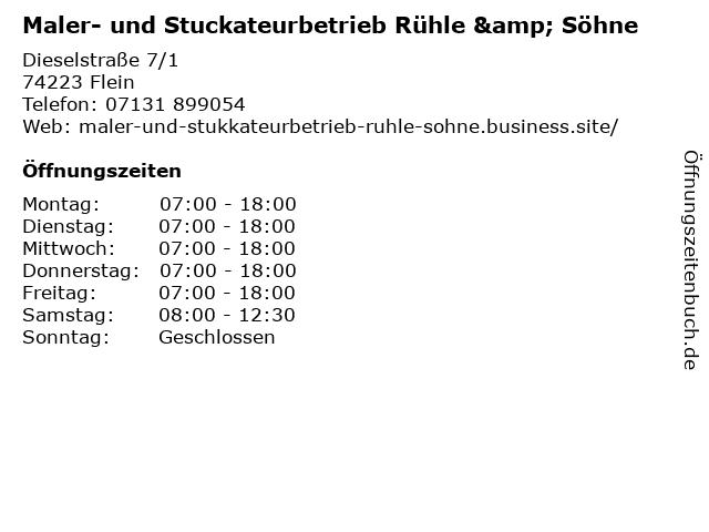 Maler- und Stuckateurbetrieb Rühle & Söhne in Flein: Adresse und Öffnungszeiten