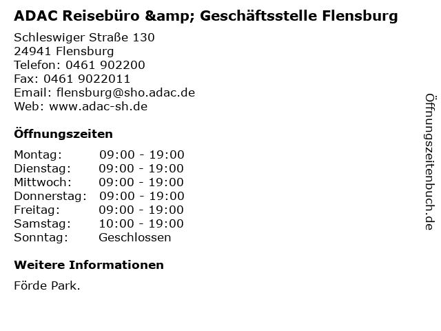 ADAC Reisebüro & Geschäftsstelle Flensburg in Flensburg: Adresse und Öffnungszeiten