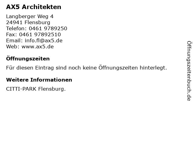 AX5 Architekten in Flensburg: Adresse und Öffnungszeiten