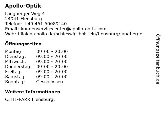Apollo-Optik in Flensburg: Adresse und Öffnungszeiten