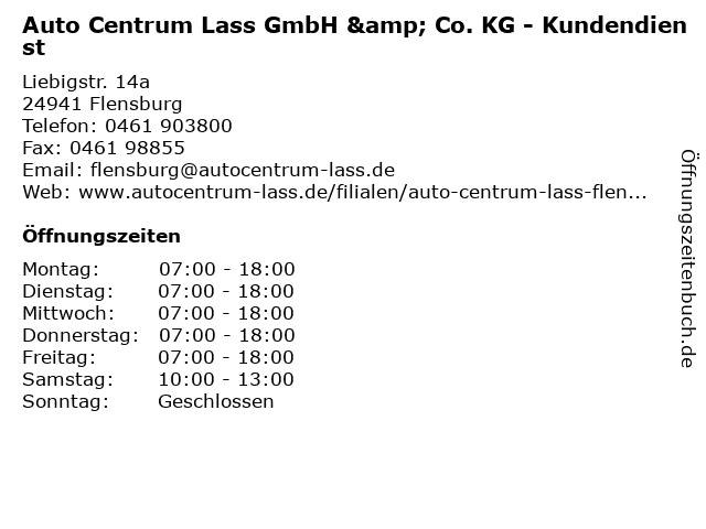 Auto Centrum Lass GmbH & Co. KG - Kundendienst in Flensburg: Adresse und Öffnungszeiten