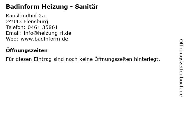 Teichert Guido Heizung Sanitär in Flensburg: Adresse und Öffnungszeiten