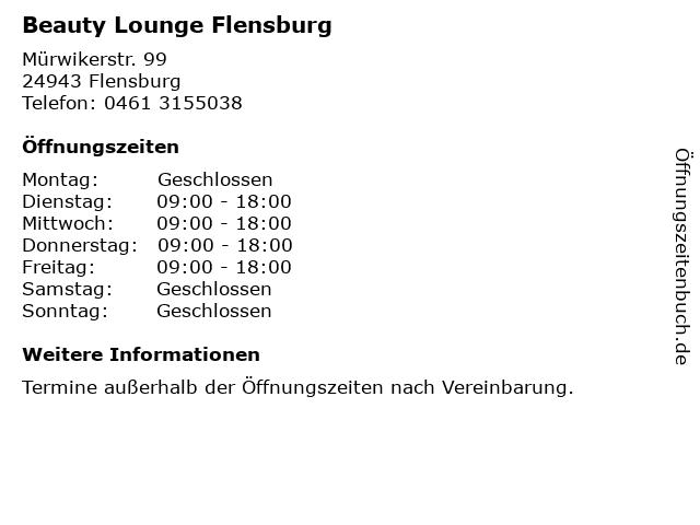 Beauty Lounge Flensburg in Flensburg: Adresse und Öffnungszeiten
