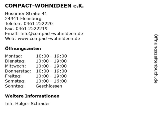 COMPACT-WOHNIDEEN e.K. in Flensburg: Adresse und Öffnungszeiten