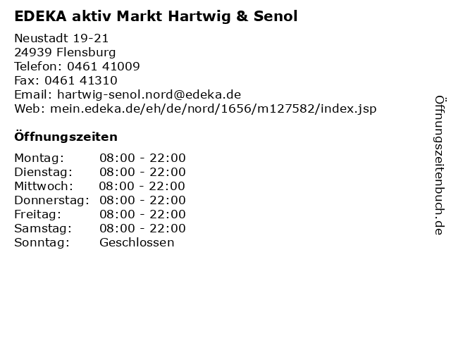 EDEKA aktiv Markt Hartwig & Senol in Flensburg: Adresse und Öffnungszeiten