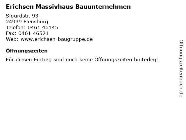 Erichsen Massivhaus Bauunternehmen in Flensburg: Adresse und Öffnungszeiten