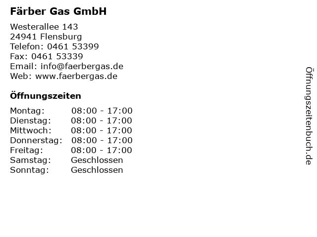 Färber Gas GmbH in Flensburg: Adresse und Öffnungszeiten