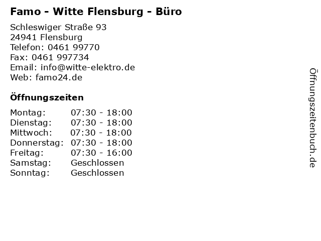 Famo - Witte Flensburg - Büro in Flensburg: Adresse und Öffnungszeiten