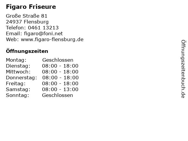 Figaro Friseure in Flensburg: Adresse und Öffnungszeiten