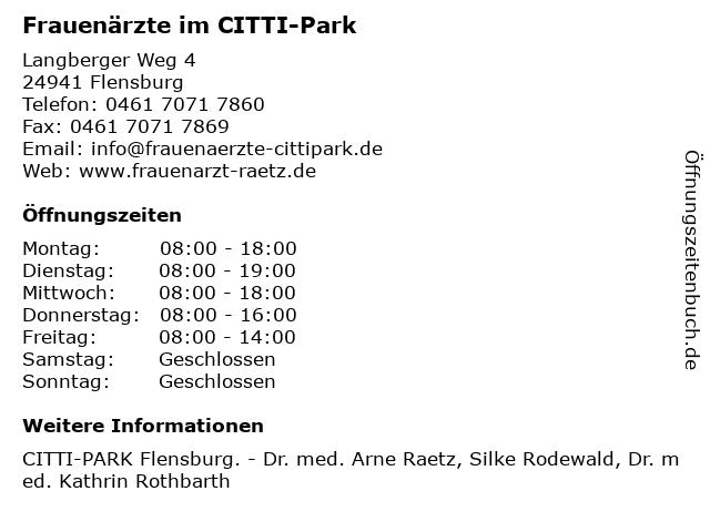 Frauenärzte im CITTI-Park in Flensburg: Adresse und Öffnungszeiten