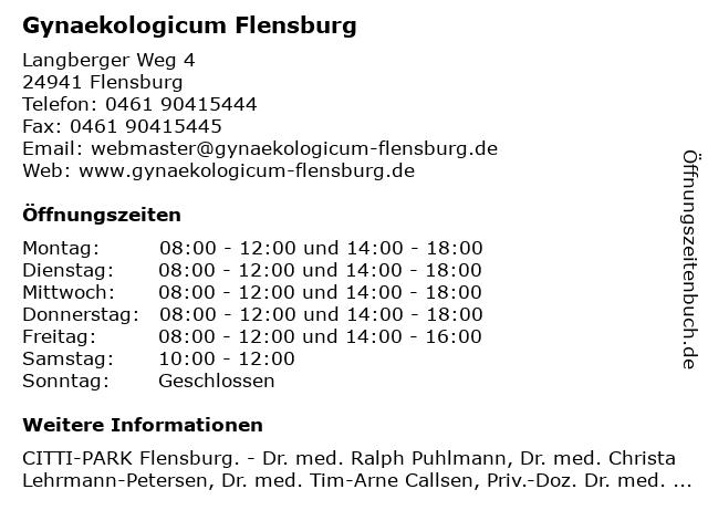 Gynaekologicum Flensburg in Flensburg: Adresse und Öffnungszeiten
