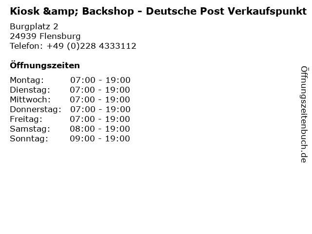 Kiosk & Backshop - Deutsche Post Verkaufspunkt in Flensburg: Adresse und Öffnungszeiten