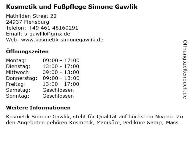 Kosmetik und Fußpflege Simone Gawlik in Flensburg: Adresse und Öffnungszeiten