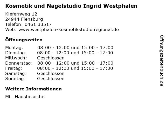 Kosmetik und Nagelstudio Ingrid Westphalen in Flensburg: Adresse und Öffnungszeiten