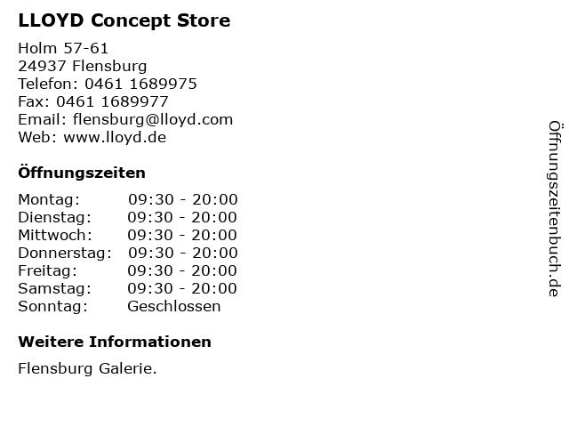 LLOYD Concept Store in Flensburg: Adresse und Öffnungszeiten