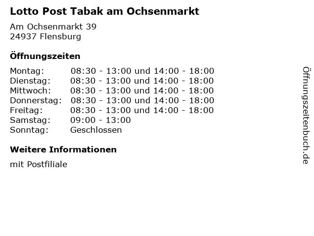 Lotto Post Tabak am Ochsenmarkt in Flensburg: Adresse und Öffnungszeiten