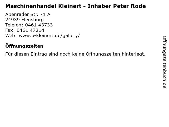 Maschinenhandel Kleinert - Inhaber Peter Rode in Flensburg: Adresse und Öffnungszeiten