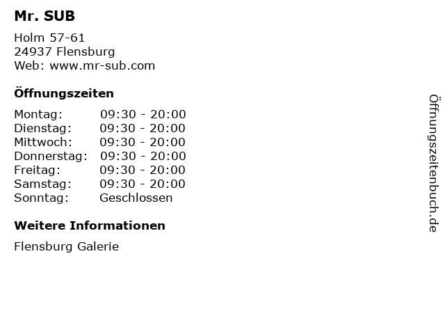 Mr. SUB in Flensburg: Adresse und Öffnungszeiten