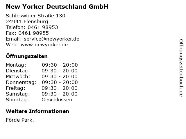 New Yorker Deutschland GmbH in Flensburg: Adresse und Öffnungszeiten