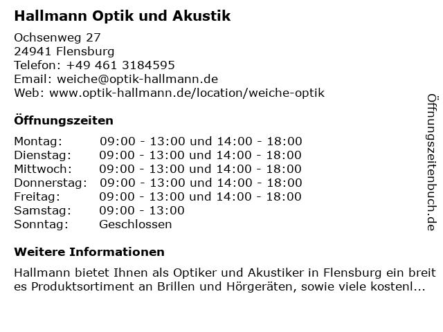 Optik Hallmann in Flensburg: Adresse und Öffnungszeiten