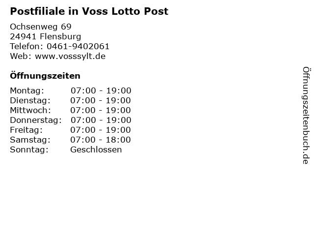 Postfiliale in Voss Lotto Post in Flensburg: Adresse und Öffnungszeiten