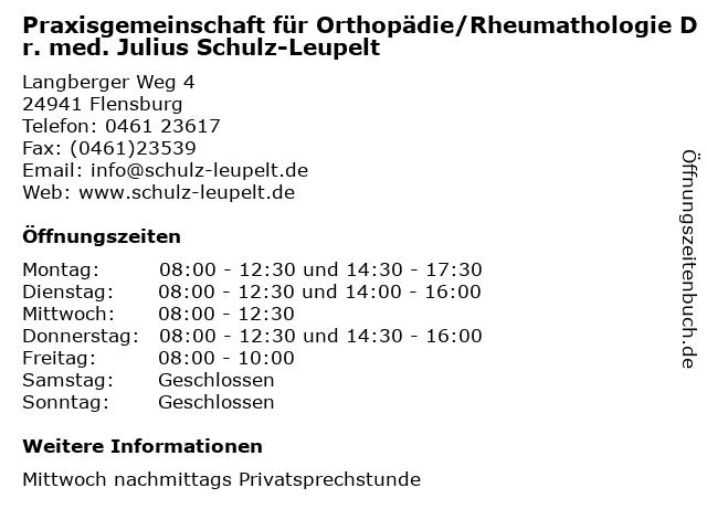 Praxisgemeinschaft für Orthopädie/Rheumathologie Dr. med. Julius Schulz-Leupelt in Flensburg: Adresse und Öffnungszeiten