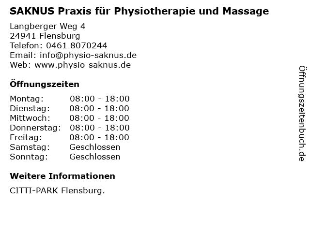 SAKNUS Praxis für Physiotherapie und Massage in Flensburg: Adresse und Öffnungszeiten