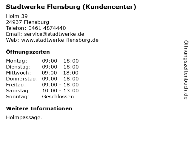 Stadtwerke Flensburg (Kundencenter) in Flensburg: Adresse und Öffnungszeiten