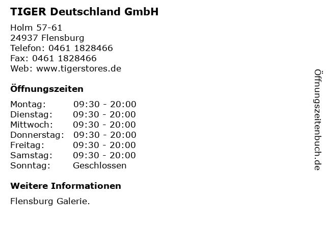 TIGER Deutschland GmbH in Flensburg: Adresse und Öffnungszeiten