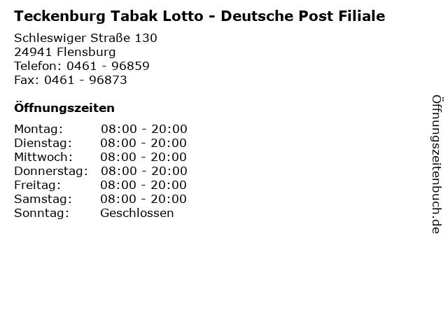 Teckenburg Tabak Lotto - Deutsche Post Filiale in Flensburg: Adresse und Öffnungszeiten