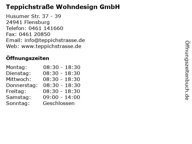 ᐅ Offnungszeiten Teppichstrasse Wohndesign Gmbh Husumer Str 37