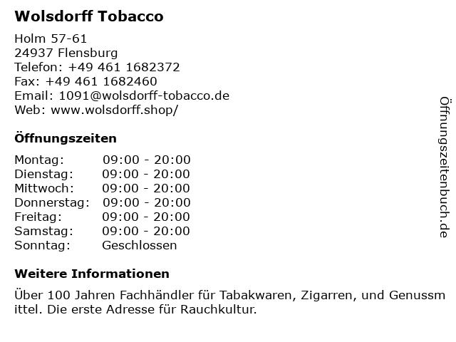 Wolsdorff Tobacco in Flensburg: Adresse und Öffnungszeiten