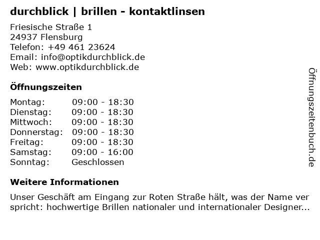durchblick | brillen - kontaktlinsen in Flensburg: Adresse und Öffnungszeiten