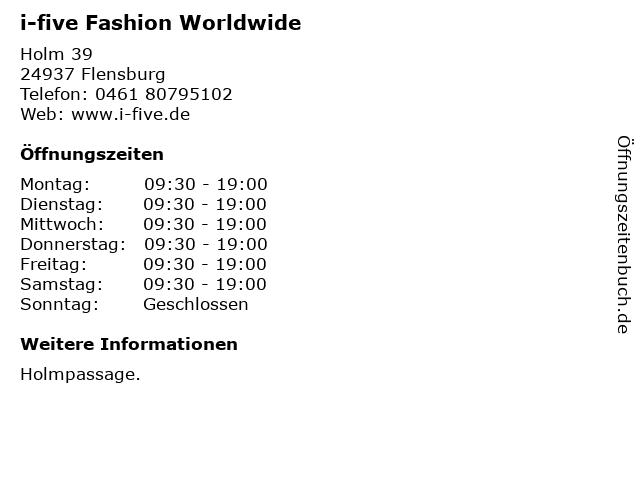 i-five Fashion Worldwide in Flensburg: Adresse und Öffnungszeiten