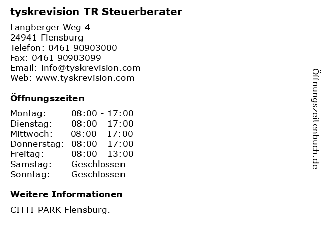 tyskrevision TR Steuerberater in Flensburg: Adresse und Öffnungszeiten