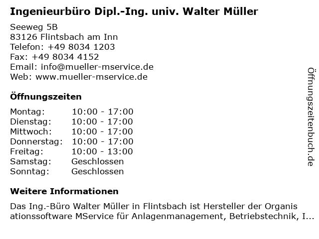 Ingenieurbüro Dipl.-Ing. univ. Walter Müller in Flintsbach am Inn: Adresse und Öffnungszeiten