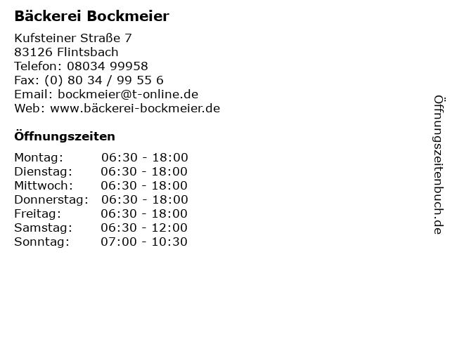 Bäckerei Bockmeier in Flintsbach: Adresse und Öffnungszeiten