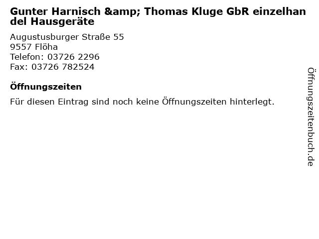 Gunter Harnisch & Thomas Kluge GbR einzelhandel Hausgeräte in Flöha: Adresse und Öffnungszeiten