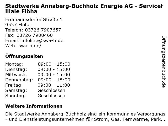 Stadtwerke Annaberg-Buchholz Energie AG in Flöha: Adresse und Öffnungszeiten