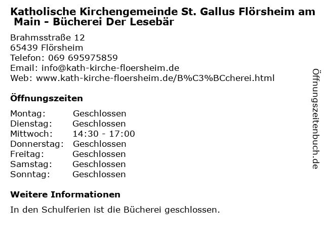 Katholische Kirchengemeinde St. Gallus Flörsheim am Main - Bücherei Der Lesebär in Flörsheim: Adresse und Öffnungszeiten