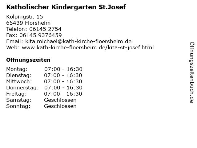 Katholischer Kindergarten St.Josef in Flörsheim: Adresse und Öffnungszeiten