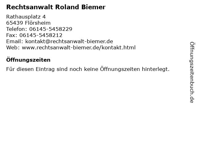Rechtsanwalt Roland Biemer in Flörsheim: Adresse und Öffnungszeiten