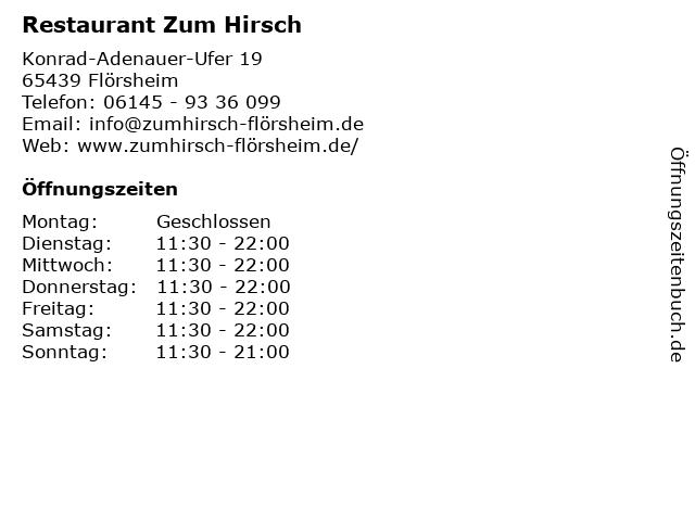 ᐅ öffnungszeiten Restaurant Zum Hirsch Konrad Adenauer Ufer 19