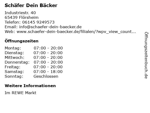 Schäfer Dein Bäcker GmbH & Co. KG in Flörsheim: Adresse und Öffnungszeiten