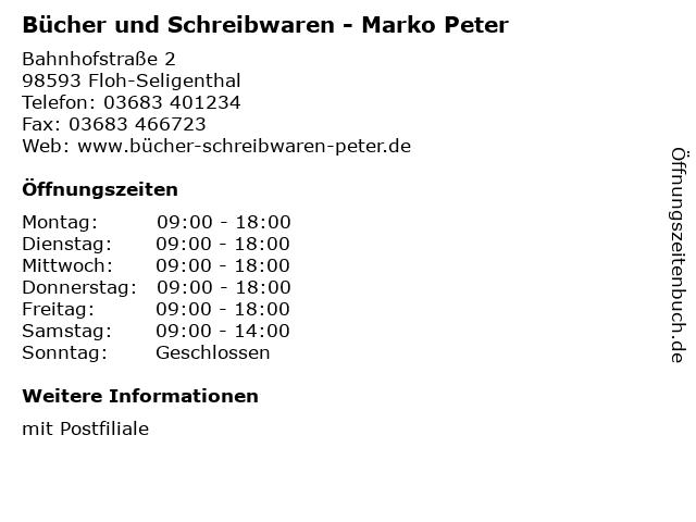 Bücher und Schreibwaren - Marko Peter in Floh-Seligenthal: Adresse und Öffnungszeiten